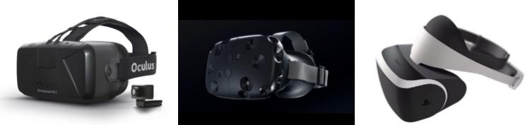 Til eru nokkrar mismunandi gerðir af sýndarveruleikagleraugum. Oculus Rift er til vinstri, ValveVR í miðjunni og Sony Morpheus til hægri.